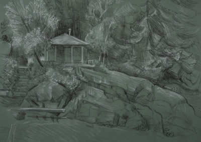 Cabin by the Sea conte, graphite and charcoal